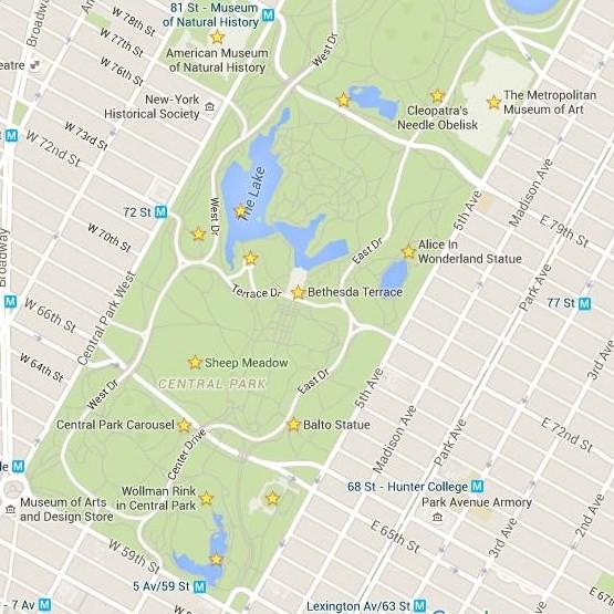 mapa central park sur
