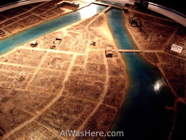 Maqueta de Hiroshima después de la bomba
