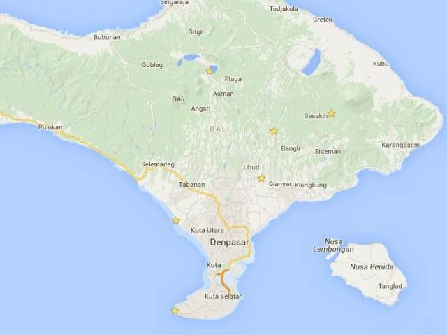 Mapa Bali templos