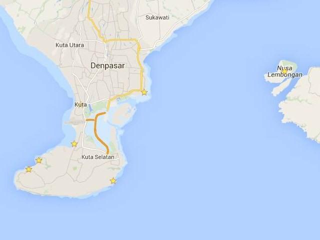 Mapa playas Bali