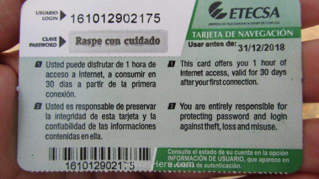 2. Tarjeta de internet wifi Cuba, card