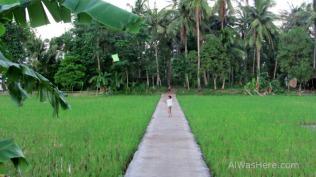 Niño volando una cometa en Donsol, Filipinas