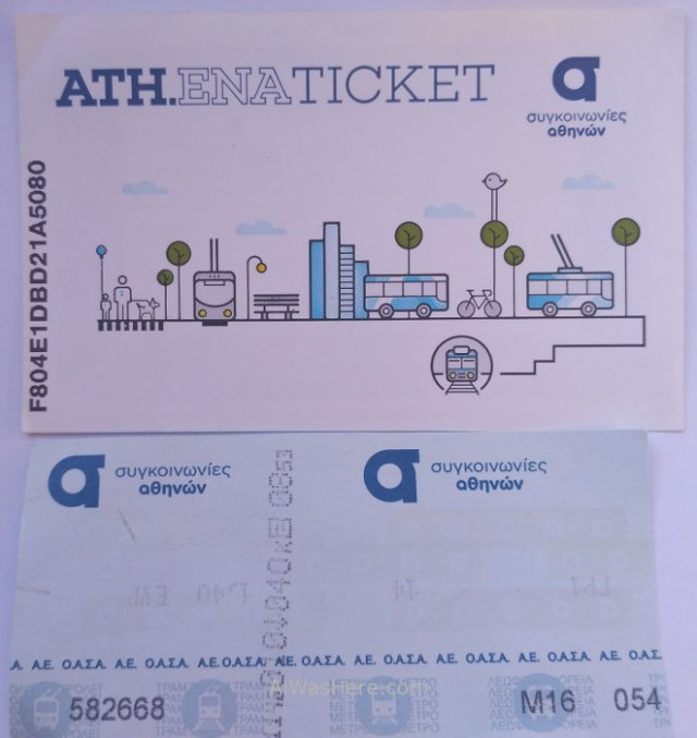 Atenas 1. Tarjeta inteligente junto a ticket antiguo de papel. Smart card, Athens