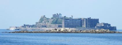 Hashima (Gunkanjima) desde el barco, Nagasaki, Japon