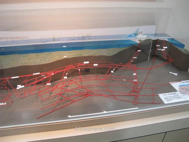 Hashima 3. Gunkanjima. maqueta que representa los túneles de la mina bajo el lecho oceánico. Nagasaki, Japon. model tunnels mine Japan