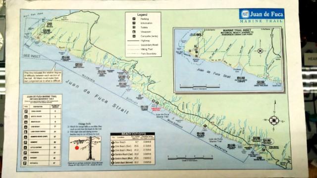 JUAN DE FUCA 1. Mapa del Juan de Fuca Marine Trail, Isla de Vancouver, Columbia Britanica, Canada. Island, British