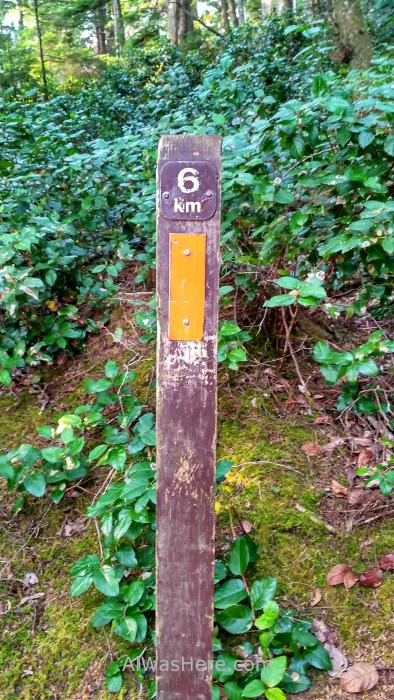 JUAN DE FUCA 3. Poste marcando un km del Juan de Fuca Marine Trail, Isla de Vancouver, Columbia Britanica, Canada. Island, British