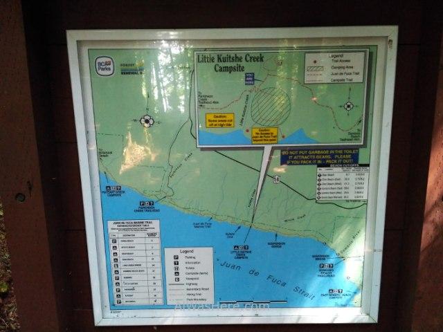 JUAN DE FUCA 33. Little Kuitshe campsite, Marine Trail, Isla de Vancouver, Columbia Britanica, Canada. British, Island.