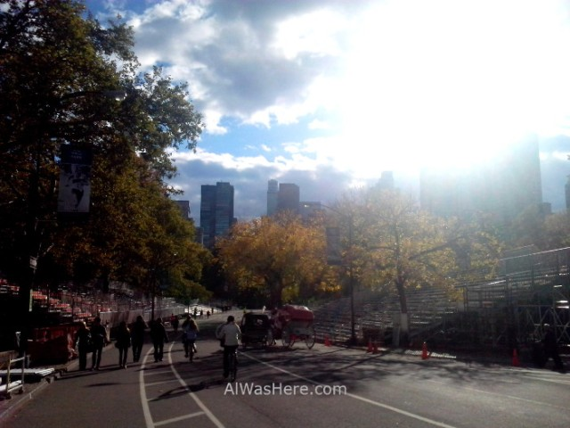 Nueva York running 2. Central Park, Linea meta maraton. New York City marathon finish line