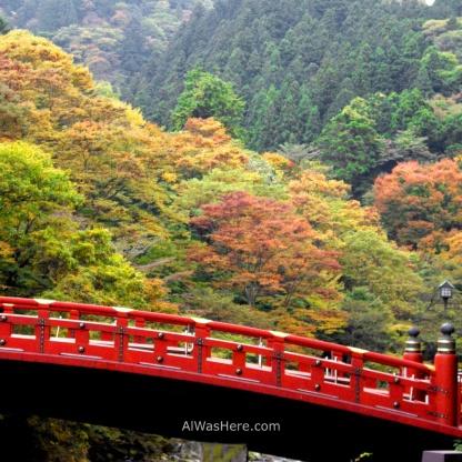 El puente Shinkyo en Nikko, con el bosque otoñal al fondo