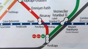 Estambul como desplazarse 4. Mapa metro Aksaray Istanbul
