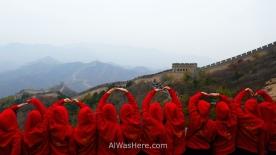 Personas contemplando la Gran Muralla China, Badaling