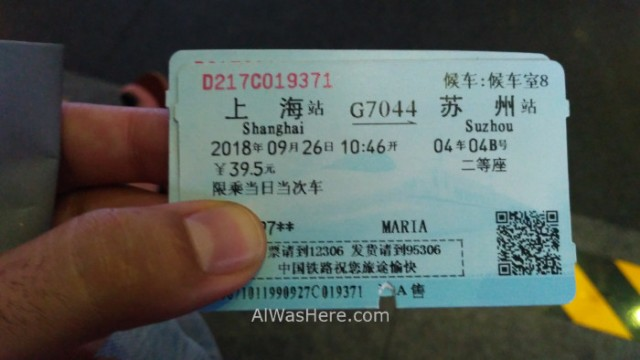 SHANGHAI 3. ticket tren train Suzhou, China