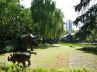 Paseando por el sur de Jing'an encontramos este parquecito con esculturas de rinocerontes