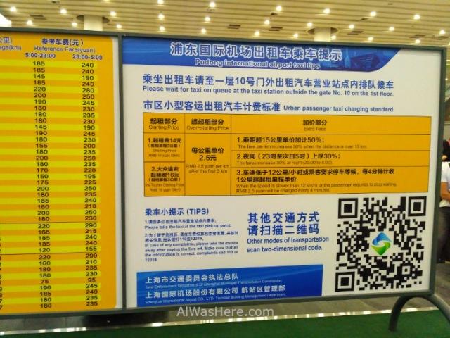 Shanghai Pudong informacion precios taxis. Information price (2)