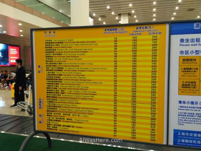 Shanghai Pudong informacion precios taxis. Information price