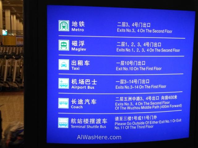 Shanghai Pudong informacion transportes. Informacion