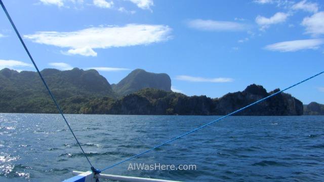el nido transporte 1. vista desde el ferry barco de coron, palawan filipinas. view boat philippines
