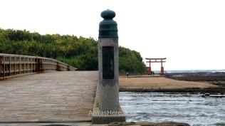 El puente con la isla y el torii, Isla de Aoshima, Miyazaki, Japón