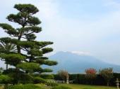 Vista de Sakurajima desde el Jardín Sengan-en