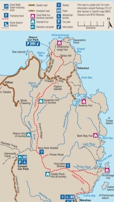 Mapa oficial Abel Tasman official rutas Tracks
